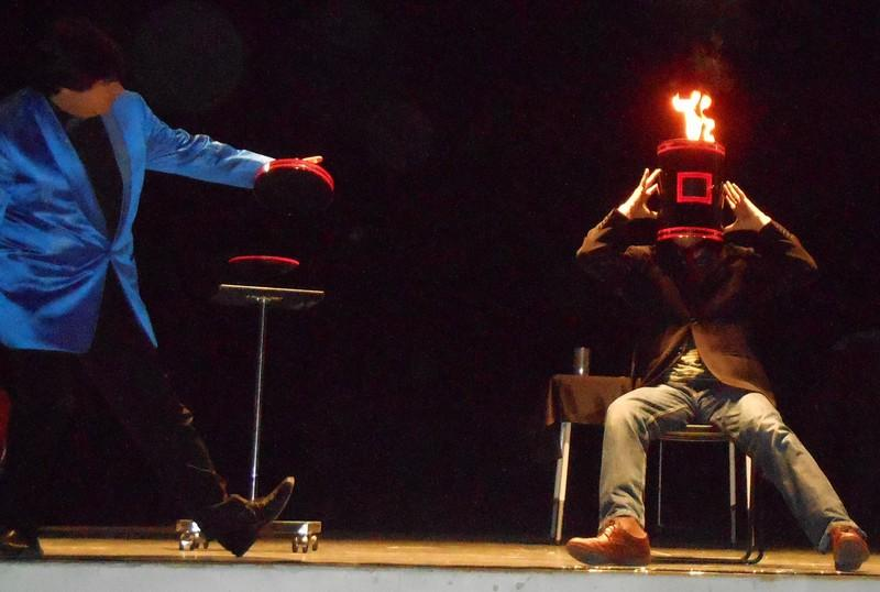 Magician Olivier OK MAGICS performing Burning Head illusion in Tudela Spain 2013