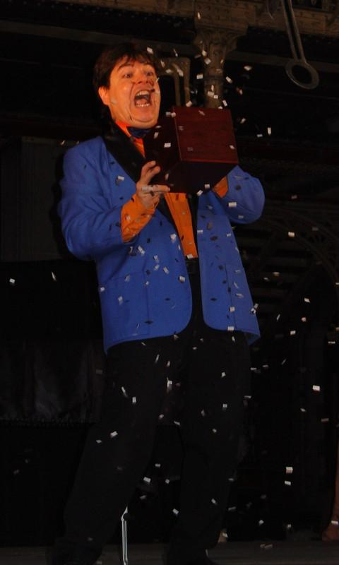 Magician Olivier OK MAGICS performing trick with comedy box in Brussels 2008