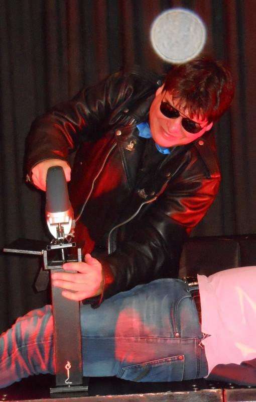 Magician Olivier OK MAGICS performing Electric Saw illusion in Eupen Belgium 2013