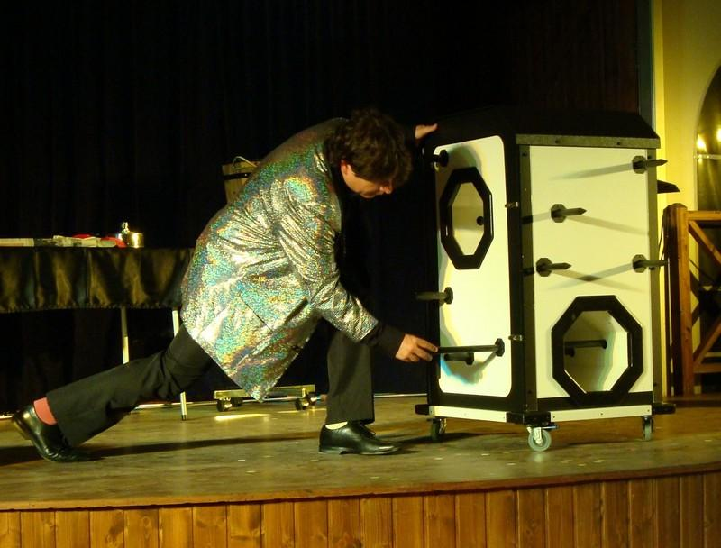 Magician Olivier OK MAGICS performing grand illusion in El Cotillo Fuerteventura Spain during his Jubilée tour 2010