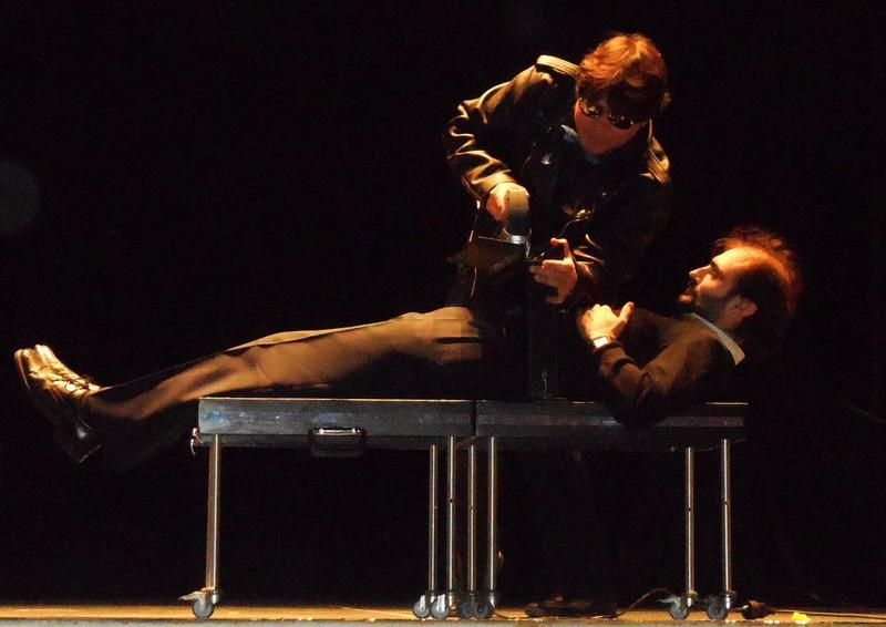 Magician Olivier performing Electric Saw illusion in Tudela Spain 2013