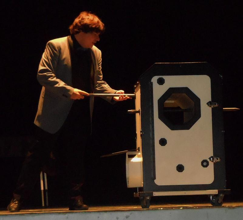 Magician Olivier OK MAGICS performing grand illusion in Tudela Spain 2013