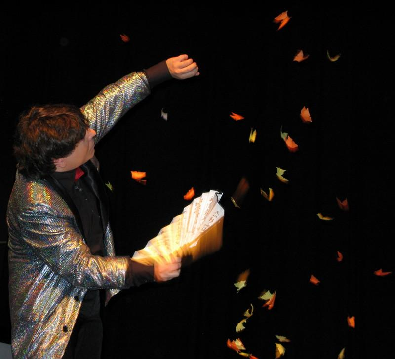 Magician Olivier OK MAGICS performing flying Butterflies Jubiée Show Brussels 2010