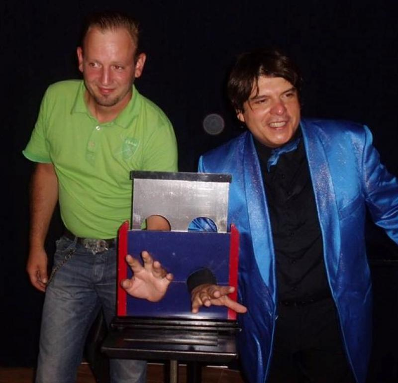 Magician Olivier Klinkenberg OK MAGICS interactive stage magic illusion with spectator in Tenerife Spain September 2015